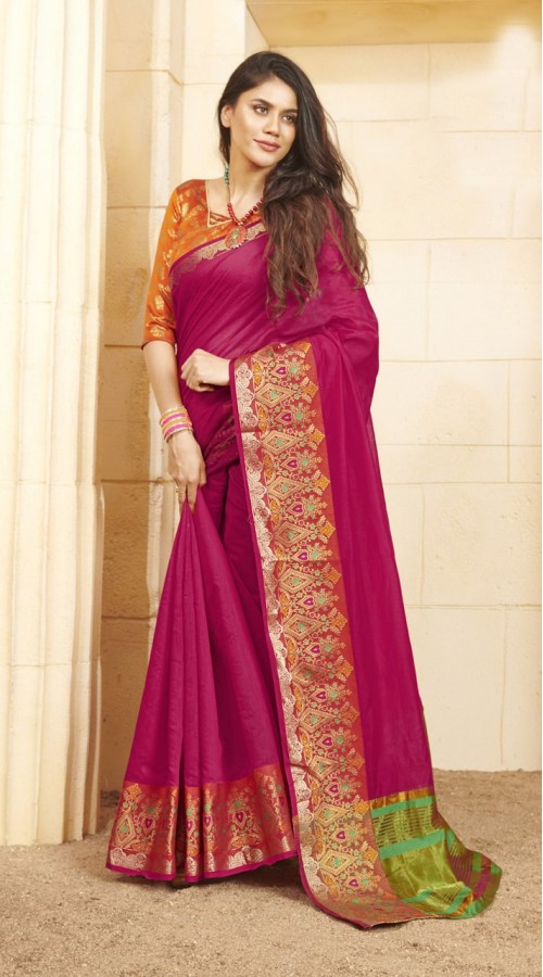 Designer casual wear cotton pink saree ROT9283109898