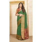 Designer casual wear cotton Green saree ROT9283109899