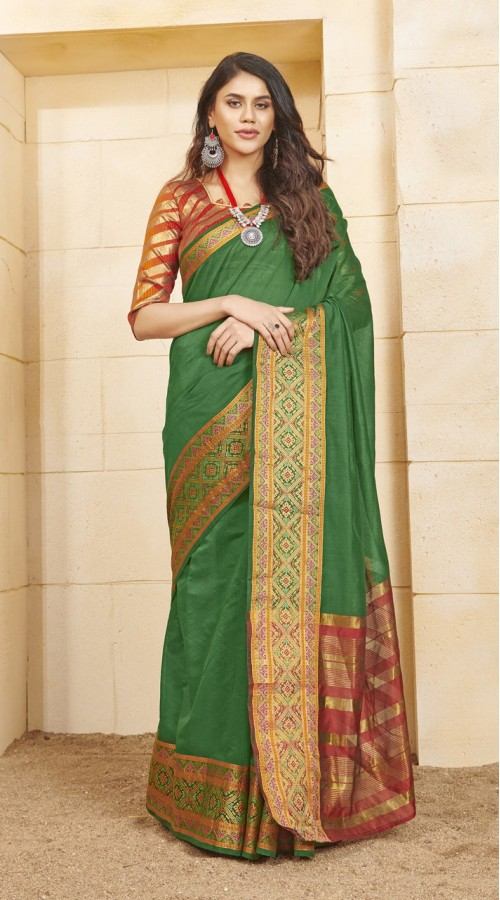 Designer casual wear cotton Green saree ROT9283109899