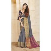 Designer casual wear cotton Grey saree ROT9283109900