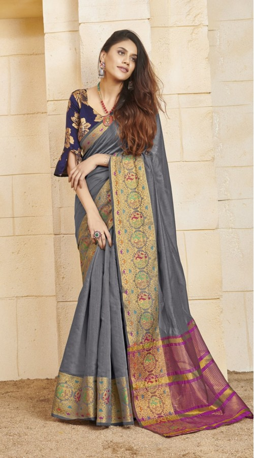 Designer casual wear cotton Grey saree ROT9283109900