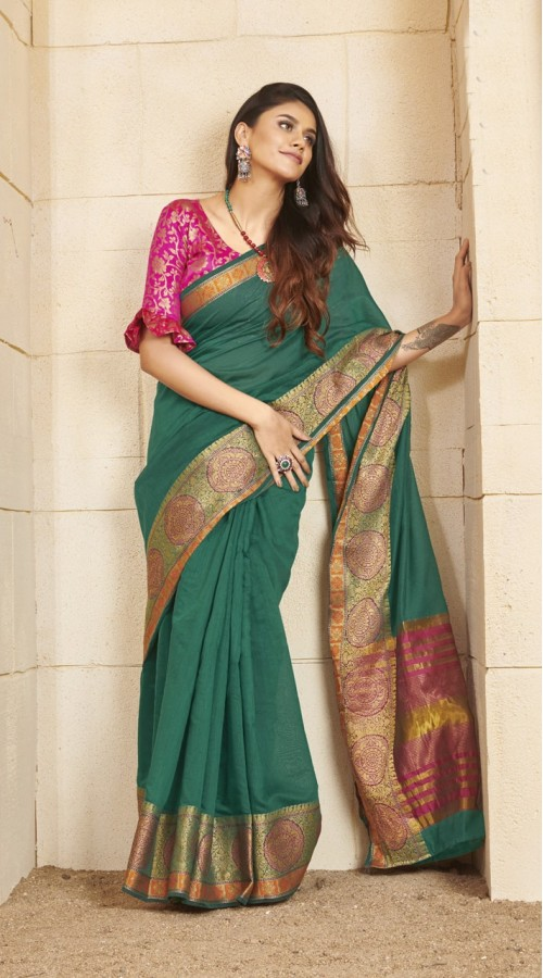 Designer casual wear cotton Green saree ROT9283109901