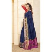 Designer casual wear cotton Navy Blue saree ROT9283109902