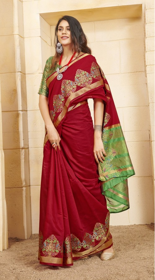 Designer casual wear cotton Red saree ROT9283109903