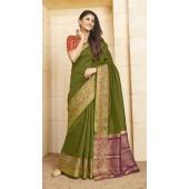 Designer casual wear cotton Green saree ROT9283109904