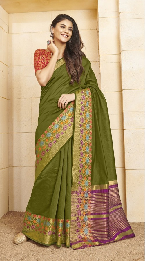 Designer casual wear cotton Green saree ROT9283109904