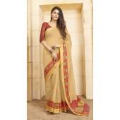 Designer casual wear cotton Cream saree ROT9283109905