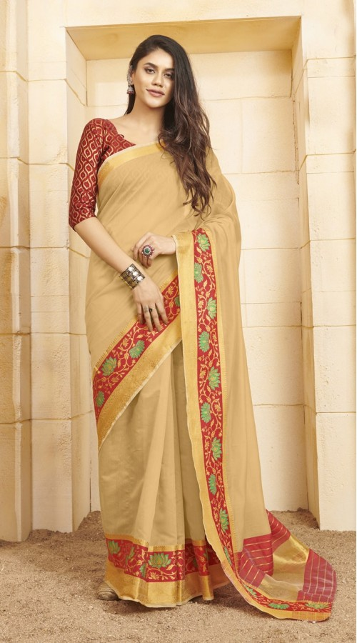 Designer casual wear cotton Cream saree ROT9283109905
