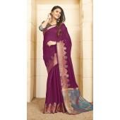 Designer casual wear cotton Violet saree ROT9283109906