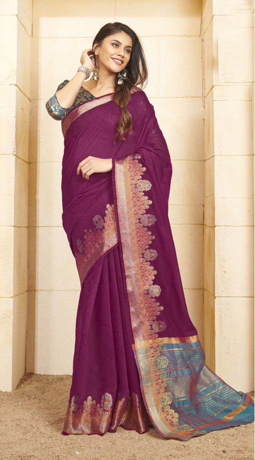 Designer casual wear cotton Violet saree ROT9283109906