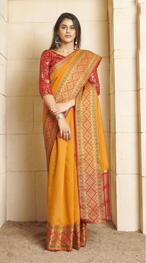 Designer casual wear cotton Yellow saree ROT9283109907
