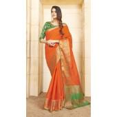 Designer casual wear cotton Orange saree ROT9283109908