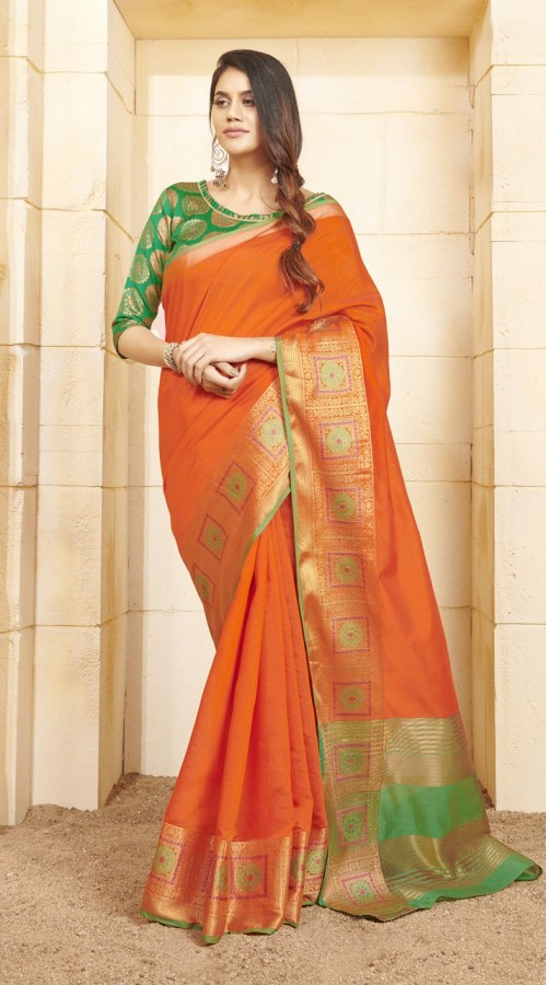 Designer casual wear cotton Orange saree ROT9283109908