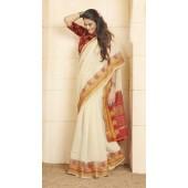 Designer casual wear cotton Off White saree ROT9283109909