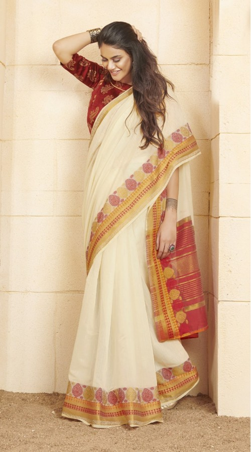 Designer casual wear cotton Off White saree ROT9283109909