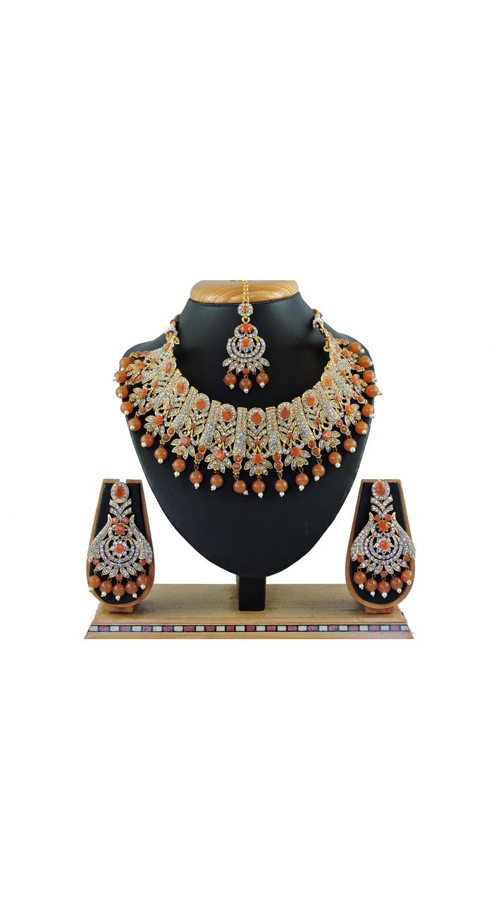 Imitation Brown Jewellery Necklace Set ROT9296109991