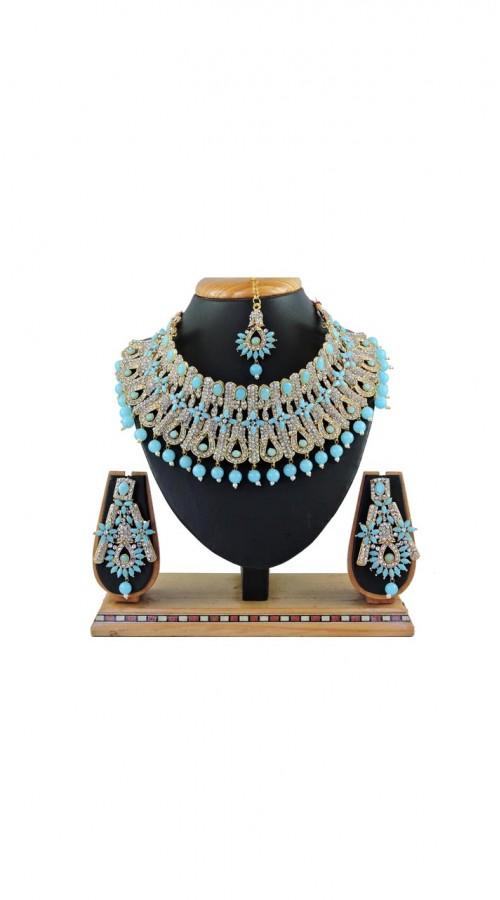 Imitation Firozi Jewellery-Necklace Set ROT9296109998