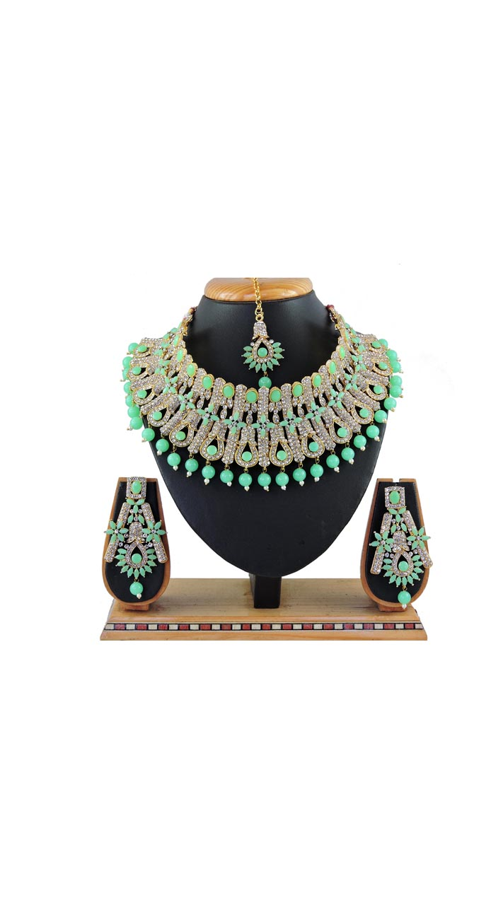 Imitation Light Green Jewellery-Necklace Set ROT929610000