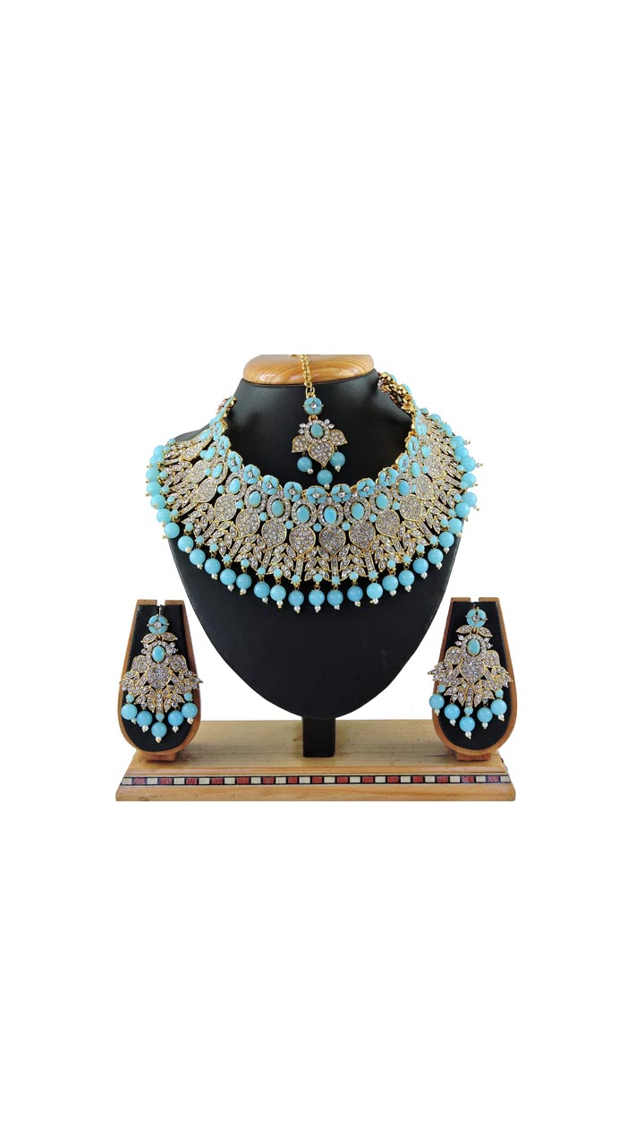 Imitation Firozi Jewellery-Necklace Set ROT9296110010