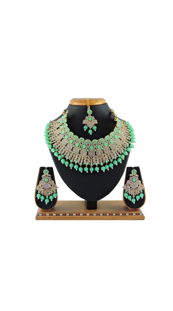 Imitation Light Green Jewellery-Necklace Set ROT9296110011