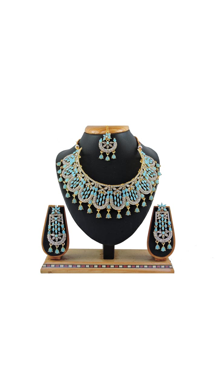 Imitation Firozi Jewellery-Necklace Set ROT9296110014