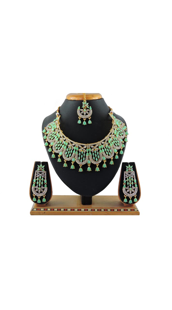 Imitation  Light Green Jewellery-Necklace Set ROT9296110017