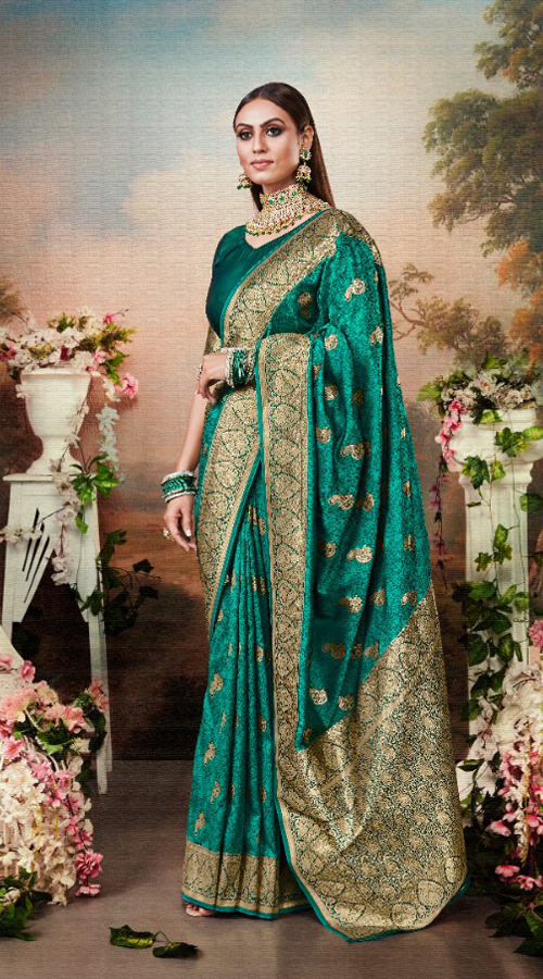Designer Classic Party wear Banarasi Silk Saree in Green color ROT9306110087
