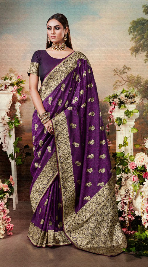 Designer Classic Party wear Banarasi Silk Saree in Purple color ROT9306110089