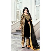 Heavy Designer Party Wear Heavy 9000 Velvet Black Salwar Suit ROT9307110091