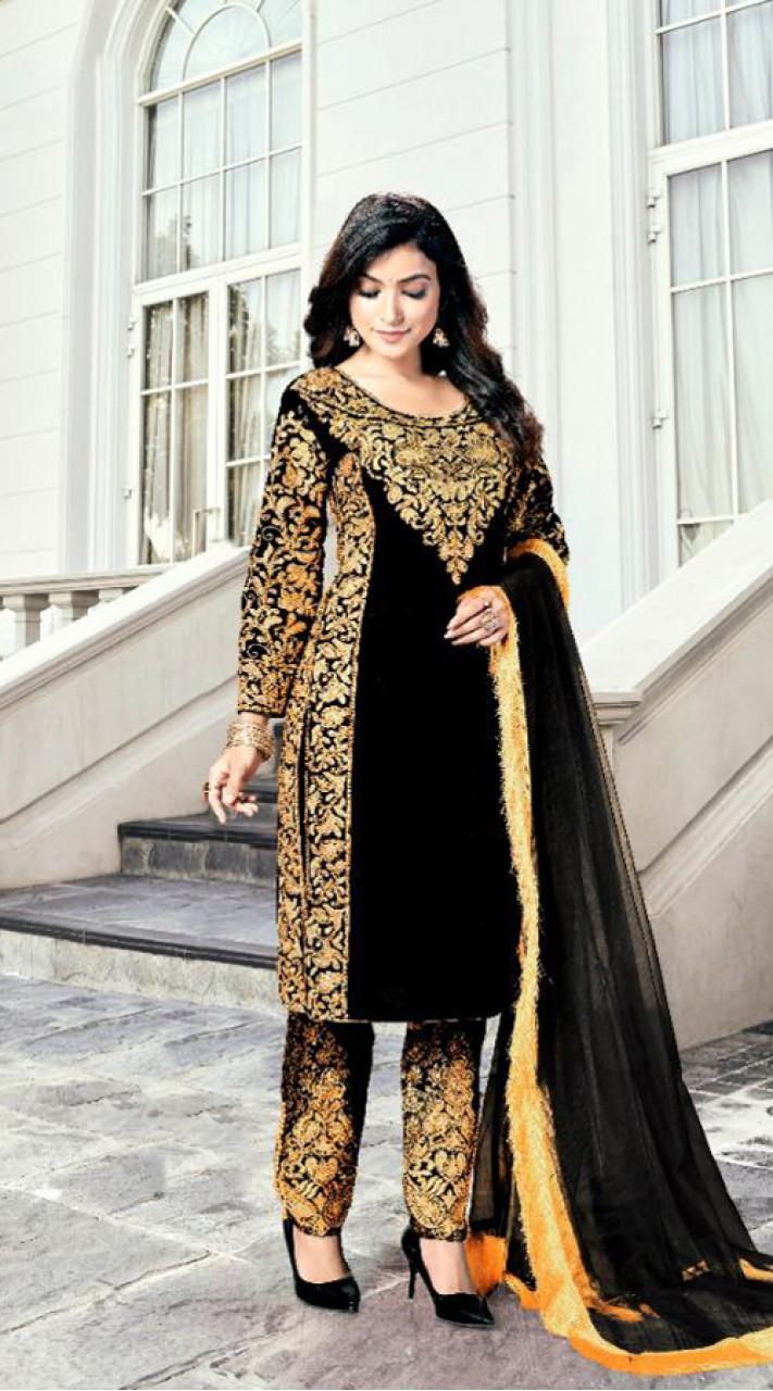 Heavy Designer Party Wear Heavy 9000 Velvet Black Salwar Suit ROT9307110091