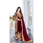 Heavy Designer Party Wear Heavy 9000 Velvet Maroon Salwar Suit ROT9307110092