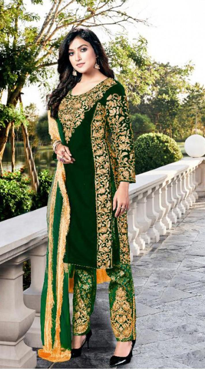 Heavy Designer Party Wear Heavy 9000 Velvet Green Salwar Suit ROT9307110093