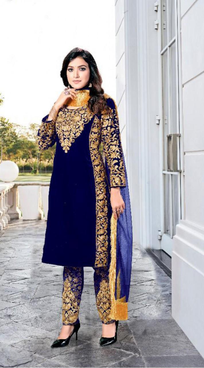 Heavy Designer Party Wear Heavy 9000 Velvet Blue Salwar Suit ROT9307110094