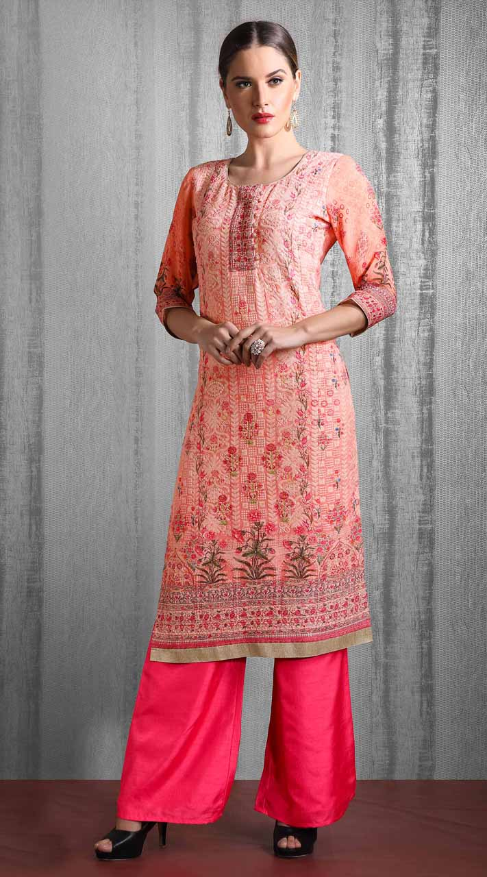 Heavy Designer party wear Readymade Peach suit ROT9310110138
