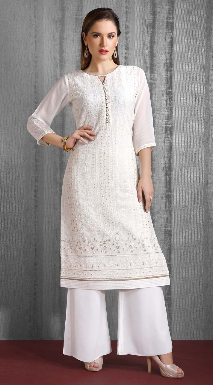 Heavy Designer party wear Readymade White suit ROT9310110141