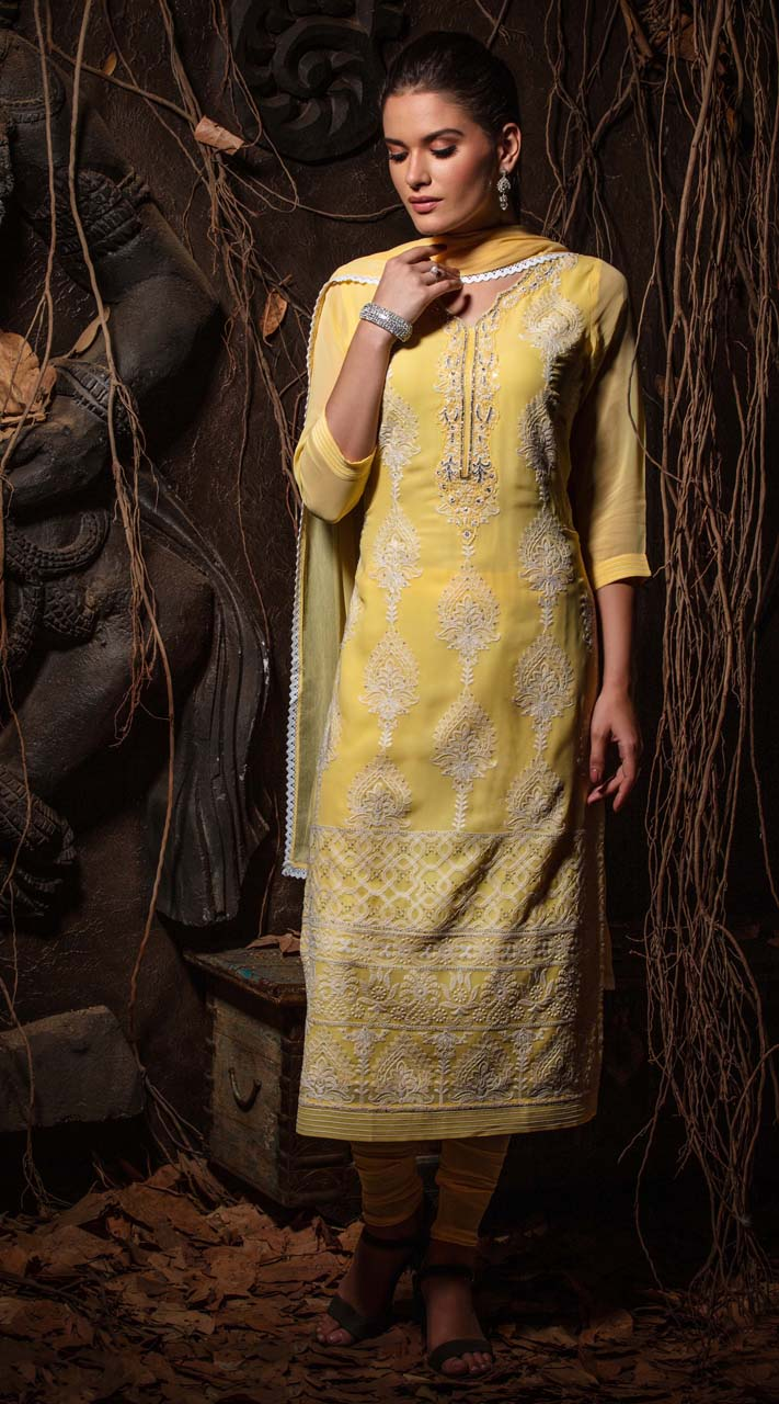 Heavy Designer party wear Readymade Yellow suit ROT9310110144