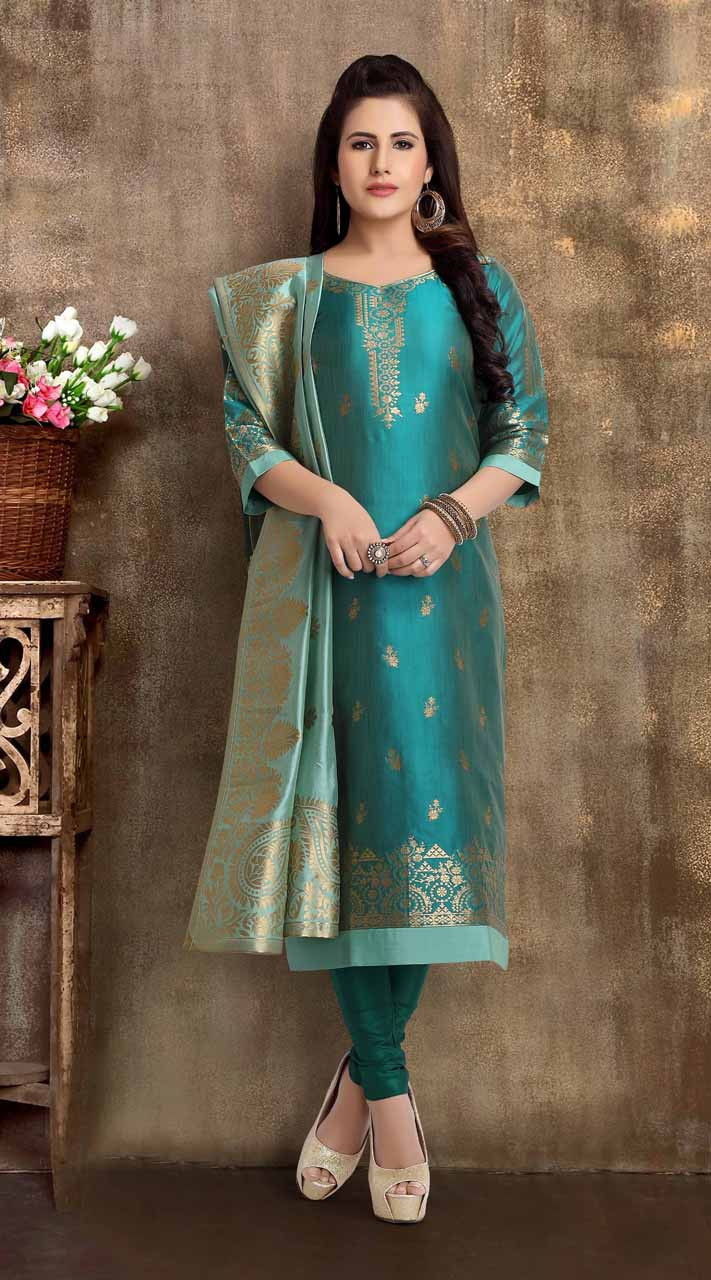 Heavy Designer party wear Readymade Blue Mix Print suit ROT9310110146