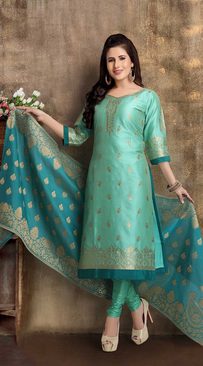 Heavy Designer party wear Readymade Sea Green suit ROT9310110148