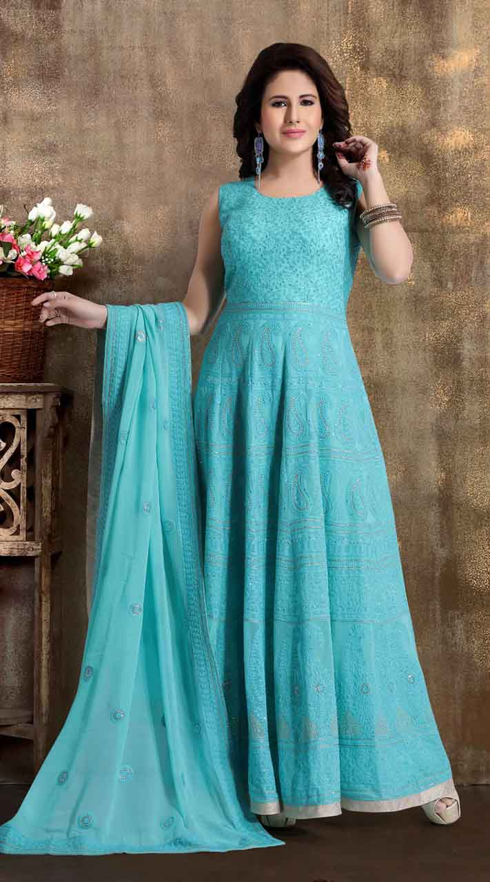 Heavy Designer party wear Readymade Blue suit ROT9310110150