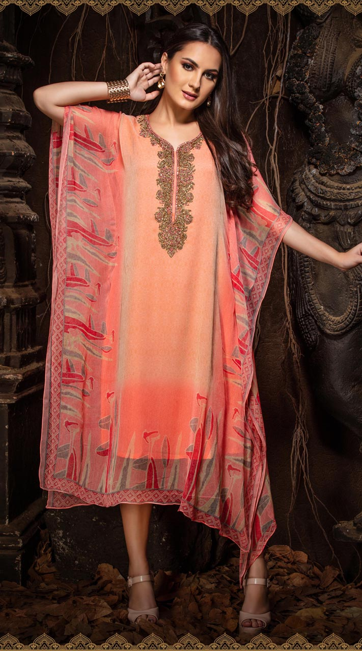 Latest Designer party wear chiffon Peach kaftan ROT9311110153