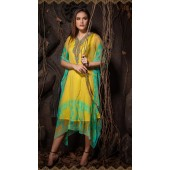 Latest Designer party wear chiffon Yellow kaftan ROT9311110154