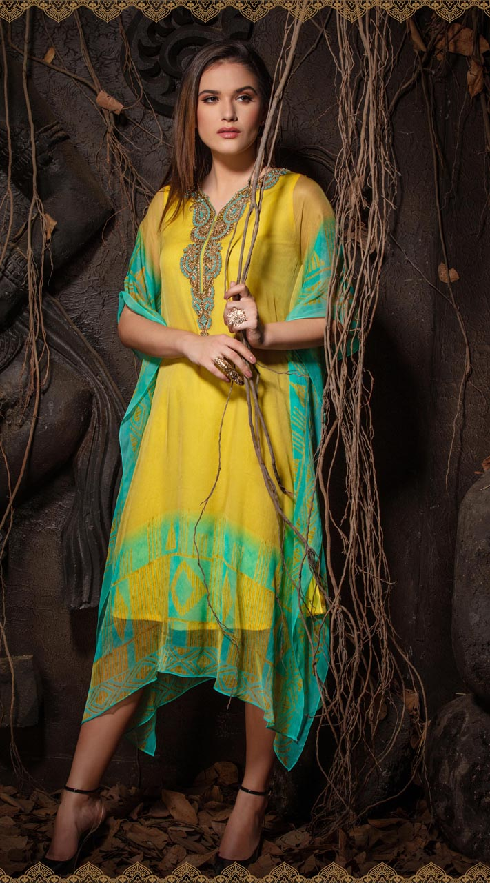 Latest Designer party wear chiffon Yellow kaftan ROT9311110154
