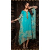 Latest Designer party wear chiffon Blue kaftan ROT9311110155