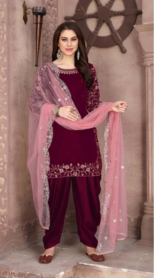 Designer party wear 9000 velvet patiyala suit in wine color ROT9312110158