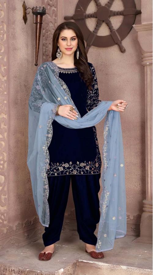 Designer party wear 9000 velvet patiyala suit in Navy blue color ROT9312110159