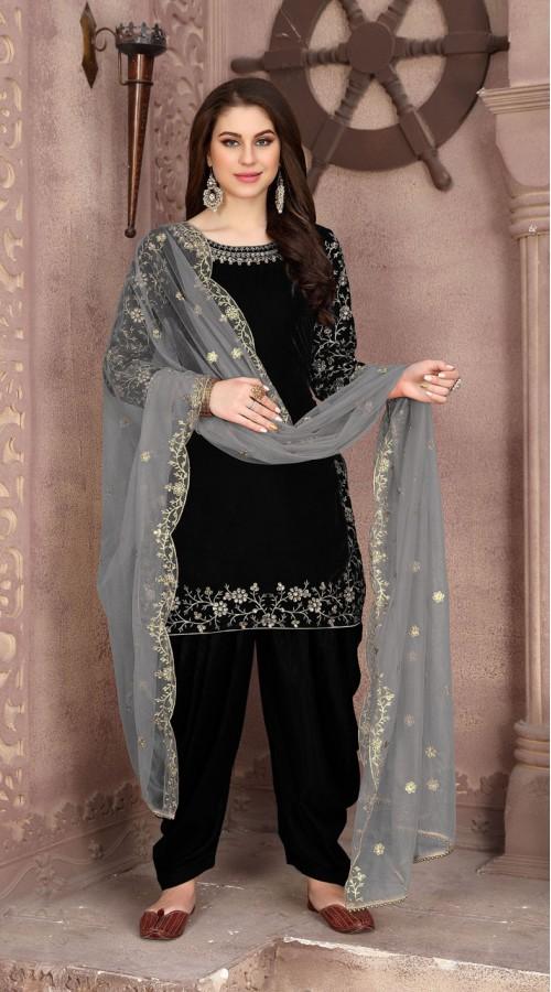 Designer party wear 9000 velvet patiyala suit in Black color ROT9312110160