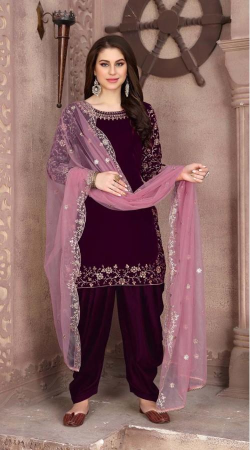Designer party wear 9000 velvet patiyala suit in Purple color ROT9312110161