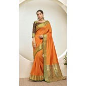 Designer Classic Party Wear Orange Silk Saree ROT9313110162