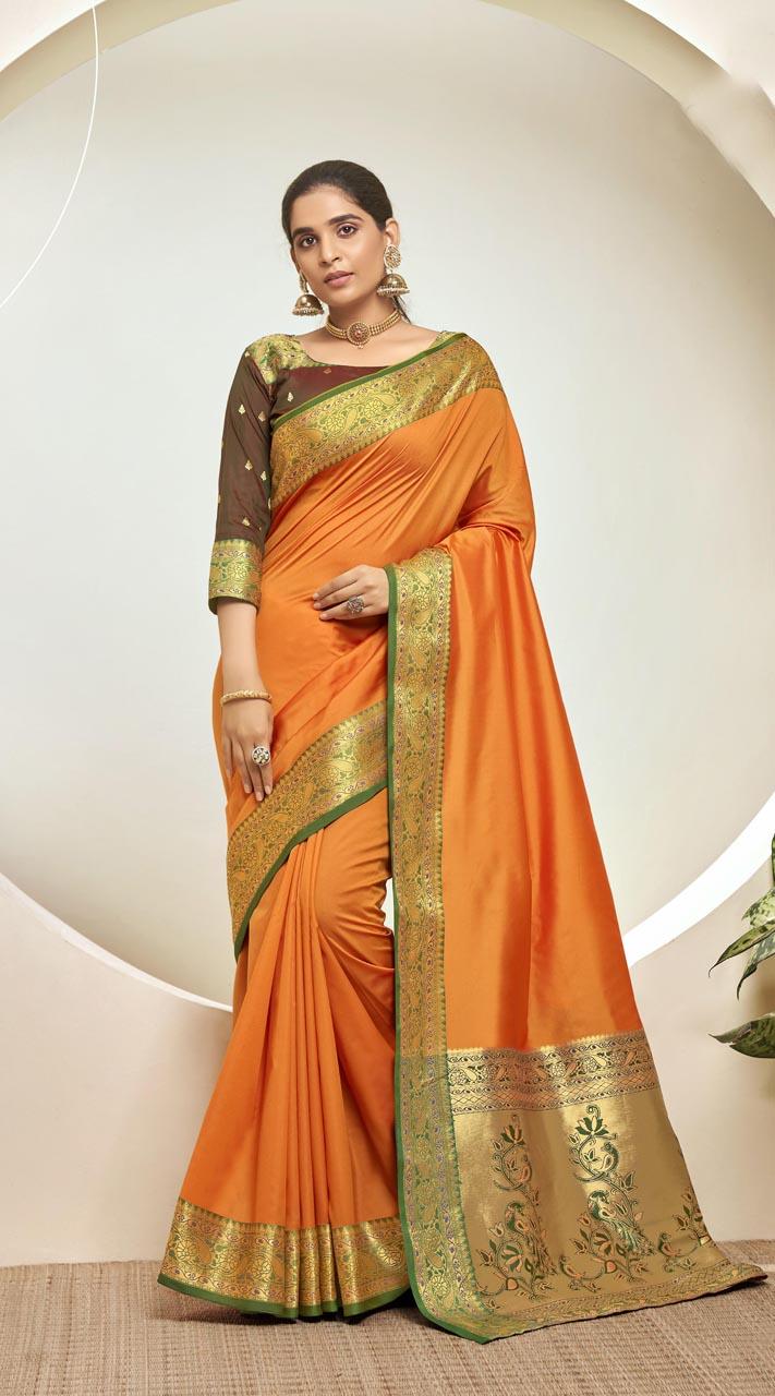 Designer Classic Party Wear Orange Silk Saree ROT9313110162