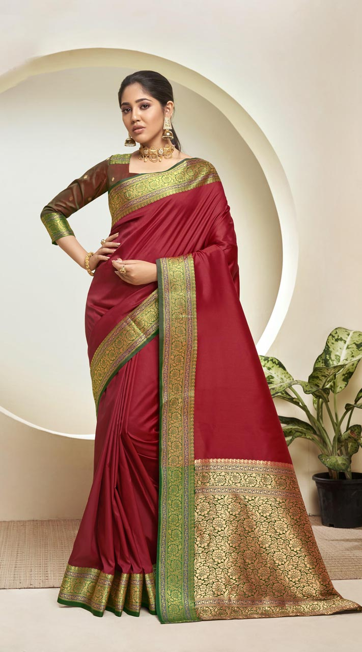 Designer Classic Party Wear Red Silk Saree ROT9313110163